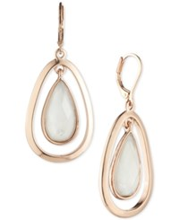 Anne Klein Faceted Stone Orbital Drop Earrings Rose Gold