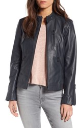 Bernardo Women's Jetta Knit Detail Leather Scuba Jacket Peacock