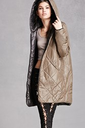 Forever 21 Quilted Hooded Puffer Jacket Olive Black