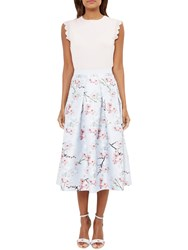 Ted Baker Pallye Oriental Blossom Midi A Line Skirt Light Grey Multi