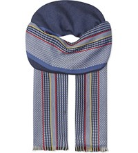 Johnstons Sports Stripe Merino Wool Scarf Blue Red Yellow