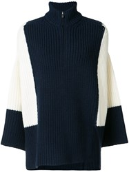 Victor Alfaro High Zipped Neck Jumper Women Merino S Blue