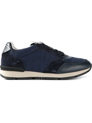 Giorgio Armani Textured Lace Up Sneakers Blue