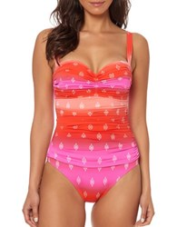 Bleu By Rod Beattie Passage To India Shirred One Piece Swimsuit Pink