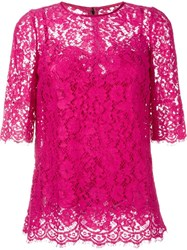 Dolce And Gabbana Floral Lace Top Pink And Purple