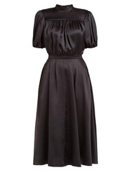 Rochas Oylanlusso High Neck Silk Bow Dress Black