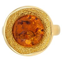 Be Jewelled Round Amber Cocktail Ring Gold Cognac