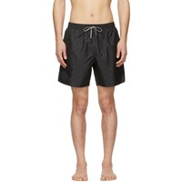 Stella Mccartney Black And Navy Medium Monogram Swim Shorts