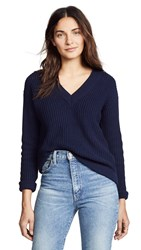 Bop Basics Deep V Sweater Dark Navy