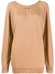 Barbara Bui Round Neck Jumper Brown