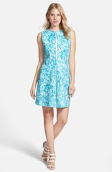 Petite Women's Michael Michael Kors 'Lake' Print Pleated Cotton Sateen Dress Turquoise