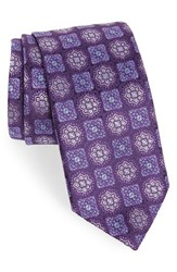 David Donahue Men's Medallion Silk Tie Purple