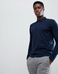Selected Homme Long Sleeve Polo Shirt In Slim Fit Dark Sapphire Navy
