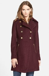 Petite Women's Guess Double Breasted Boucle Cutaway Coat Wine