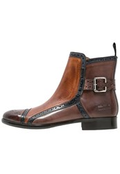 Melvin And Hamilton Henry 2 Boots Crust Dark Brown Navy Tan