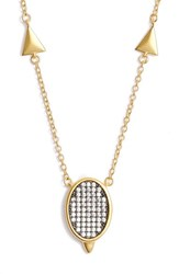 Freida Rothman Women's Contemporary Deco Pave Pendant Necklace