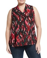 Vince Camuto Ikat Print Sleeveless Blouse Rich Black
