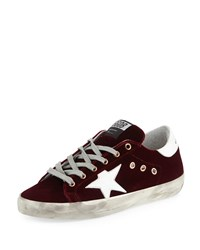 Golden Goose Superstar Velvet Platform Low Top Sneaker Bordeaux Wht Star