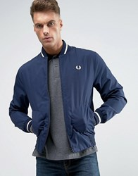 Fred Perry Laurel Wreath Bomber Jacket Made In England In Navy White Navy