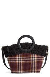 Bp. Ring Handle Plaid Tote With Faux Shearling Trim Red Burgundy Multi