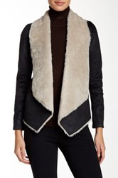The Kooples Faux Shearling Two Color Jacket Black