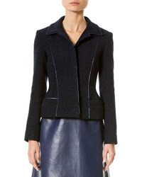 Carolina Herrera Wool Blend Jacket W Metallic Piping Black Blue Black Blue