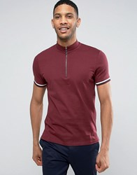 Asos T Shirt With Zip Turtle Neck And Sleeve Rib In Burgundy Burgundy Red