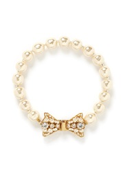 Miriam Haskell Baroque Glass Pearl Crystal Bow Bracelet White