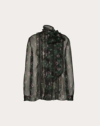 Valentino Undercover Print Chiffon And Lace Top Multicoloured Silk 100
