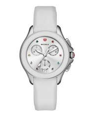 Michele Cape Chronograph Multicolor Topaz Stainless Steel And Silicone Strap Watch White