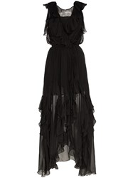 Faith Connexion Ruffle Detail Silk Wrap Dress Black