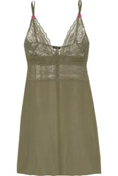 Heidi Klum Intimates A Corps Perdu Lace Trimmed Silk Georgette Chemise Army Green
