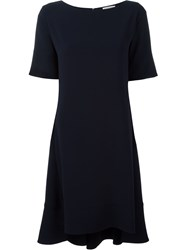 Alberto Biani Flared Boat Neck Dress Blue