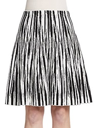 Saks Fifth Avenue Flared Chevron Knit Skirt Black Ivory