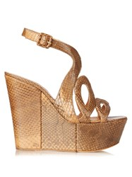 Alexa Wagner Ayers Cut Out Snakeskin Wedges Brown Multi