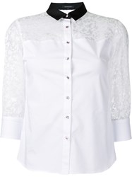 Loveless Contrast Collar Sheer Sleeve Blouse Women Cotton Polyester Polyurethane 34 White