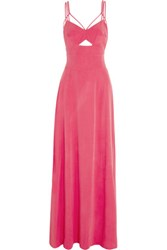 L'agence Elsa Cutout Stretch Silk Gown Bright Pink
