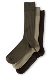 Calvin Klein Wide Rib Socks 3 Pack Chocolate Multi