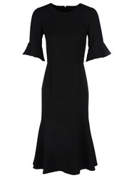 Yanny London Frill Sleeve High Low Ruffle Hem Dress Black