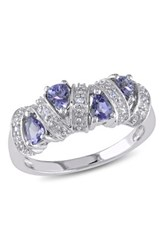 Sterling Silver Tanzanite Station Ring Purple