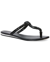 Calvin Klein Women's Harla T Strap Flat Thong Sandals Women's Shoes Black