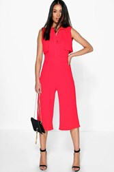 Boohoo Open Back Layer Top Jumpsuit Red