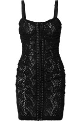 Dolce And Gabbana Lace Up Satin Trimmed Stretch Lace Mini Dress Black