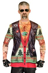 Men's Faux Real 'Ugly Christmas Sweater Biker Tattoo' Long Sleeve Novelty T Shirt