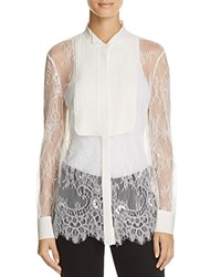 Chelsea And Walker Mesa Lace Tuxedo Shirt Ivory