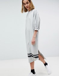 Moss Copenhagen Midi T Shirt Dress With Balloon Sleeves And Hem Stripe Grey