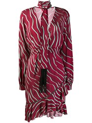 Just Cavalli Zebra Print Scarf Dress Red