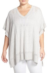 Plus Size Women's Caslon Lightweight V Neck Poncho Sweater