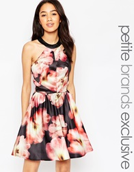 Chi Chi Petite Chi Chi London Petite Floral Print Mini Prom Dress With Open Back Multi