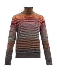 Missoni Roll Neck Space Dyed Wool Sweater Red Multi